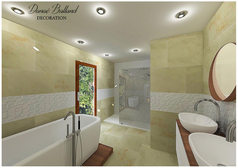 Salle de bain moderne design douche à l'italienne