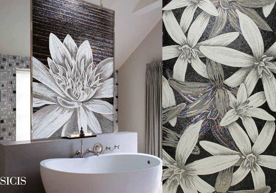 Décoration carrelage mosaïque fleurs sicis