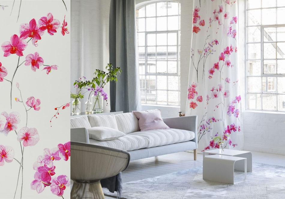 Décoration rideaux fleurs orchidée