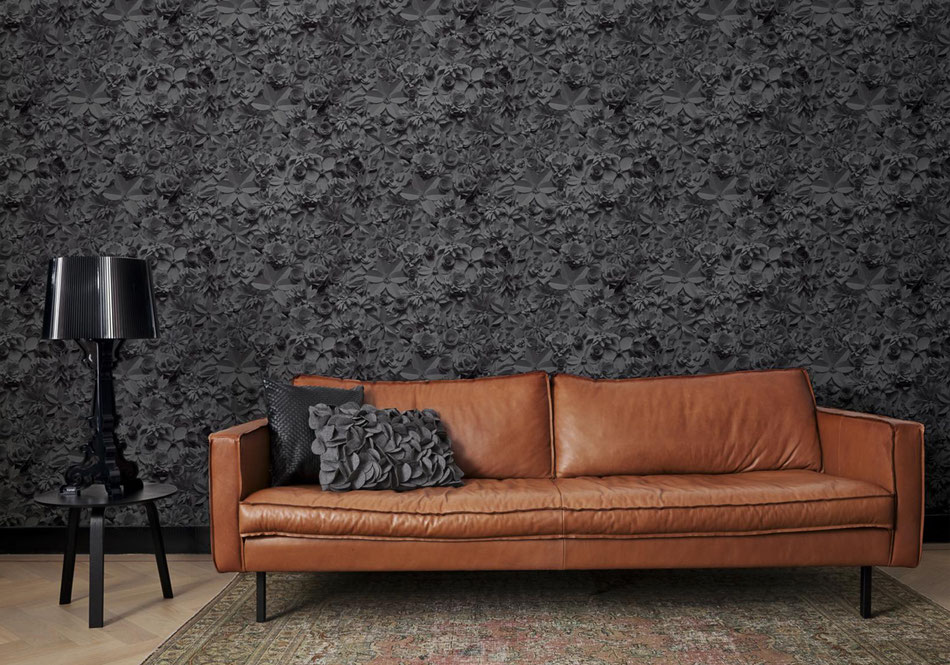 Décoration papier peint floral 3D noir