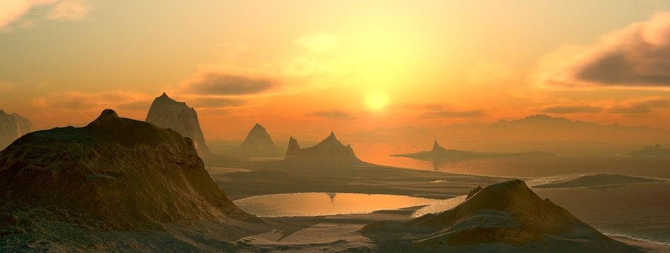 Panorama con tramonto