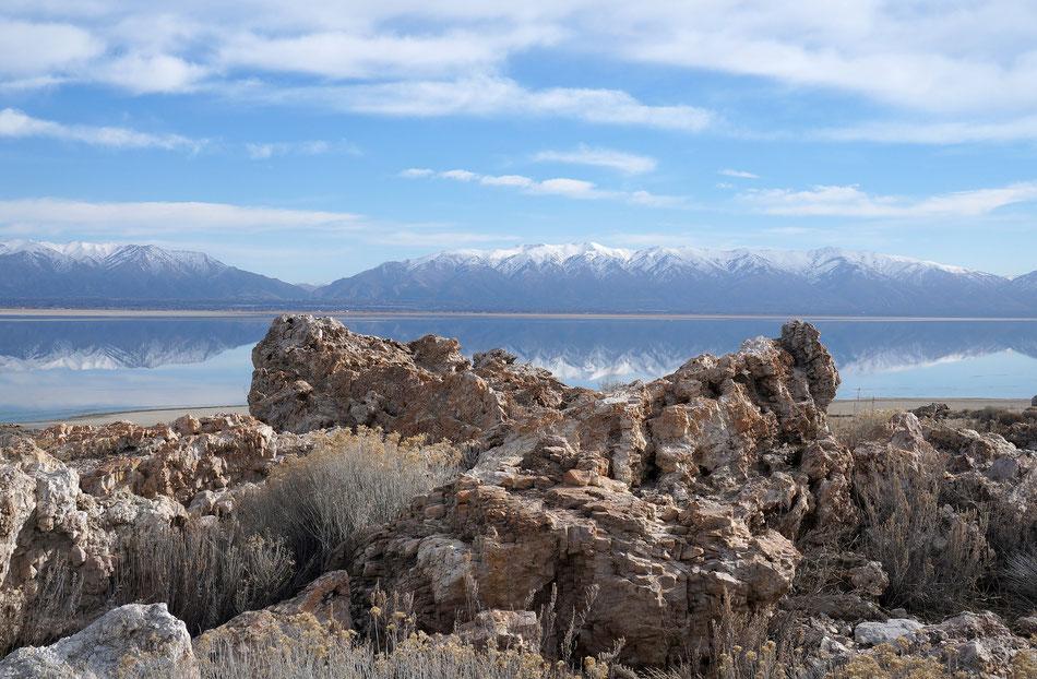 Panorama del grande lago salato dello Utah