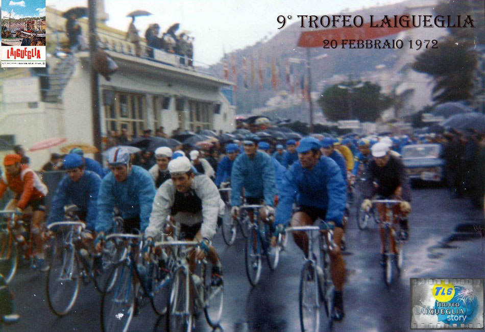 Foto courtesy: archivio AVL, la partenza del 9° Trofeo Laigueglia sotto la pioggia dal mitico c.rso Badarò.