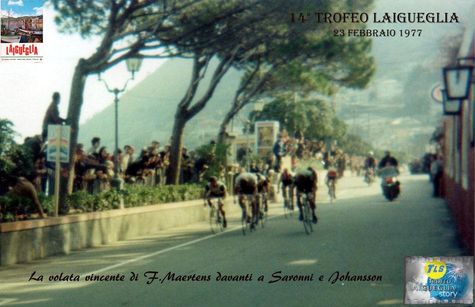 Foto courtesy: Archivio AVL, il campione del mondo F.Maertens precede il neo-prof. Saronni in maglia Scic