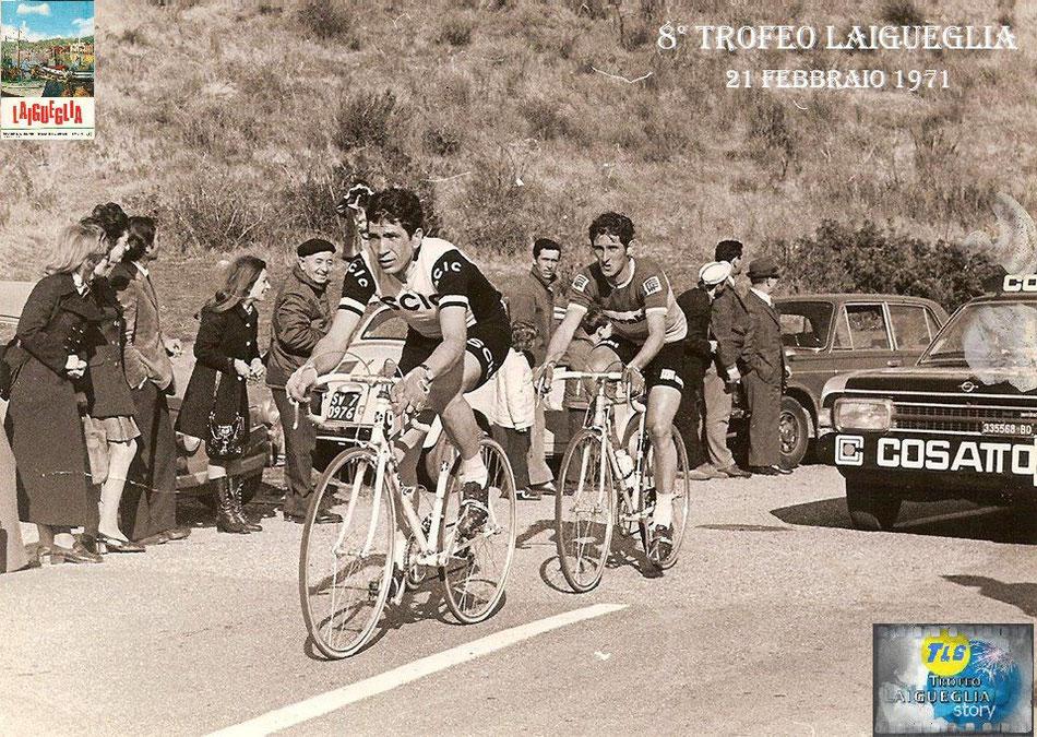 Foto courtesy: Franco Sandri archivio Michelotto, sulla salita del Testico protagonisti Claudio Michelotto e Vilmo Francioni 2 grandi vincitori del Trofeo.