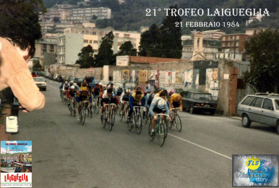 Foto courtesy: archivio AVL, il gruppetto in fuga si appresta ad entrare nel viale d'arrivo di corso Badarò.