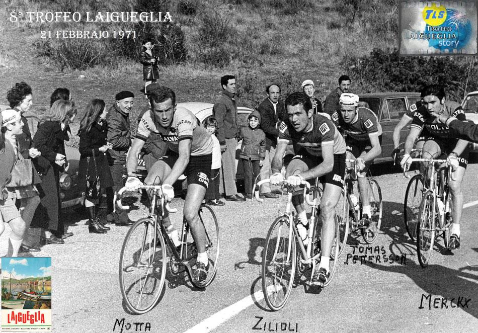 Foto courtesy: Archivio Angelo Negro, sulla salita del Testico, crocetta di Moglio in fuga Motta, Zilioli, T.Petterson, Merckx e C.Petterson.