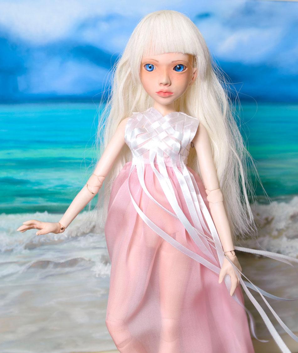 НОРА, шарнирная кукла, море, BJD, платье, ленты