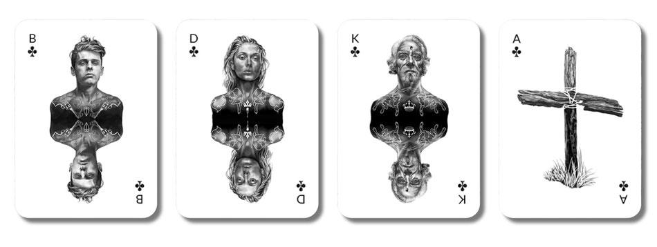 Pokerspiel Farbe Kreuz mit fotorealistischen Bube, Dame, König und Ass von Rumi Benecke
