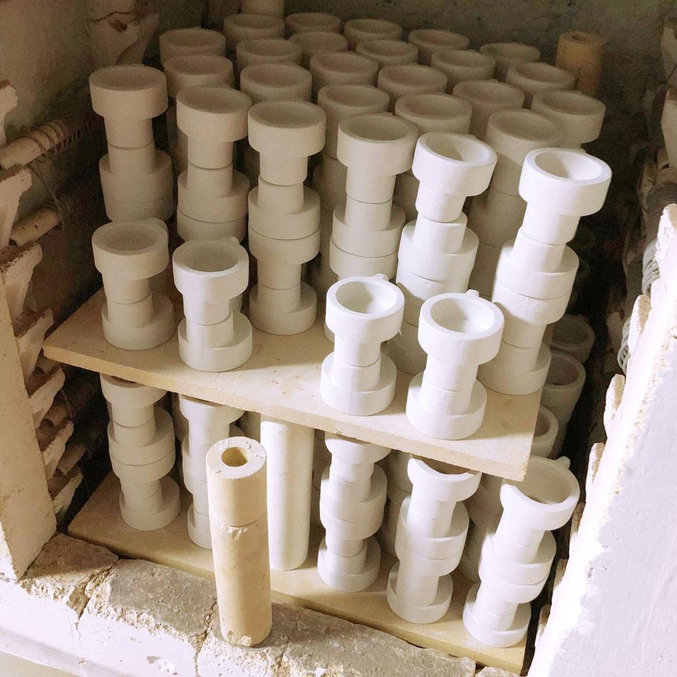 Candela Kerzenständer in Produktion, pott spanien, töperarbeit