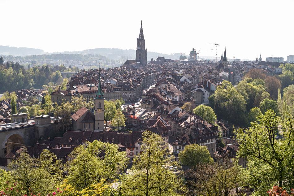 Bern, vom Rosengarten aus gesehen am 12. April 2017 17 Uhr, Can. 1Dx, Zeiss Otus 55, Graufilter, Bel. 2 s.
