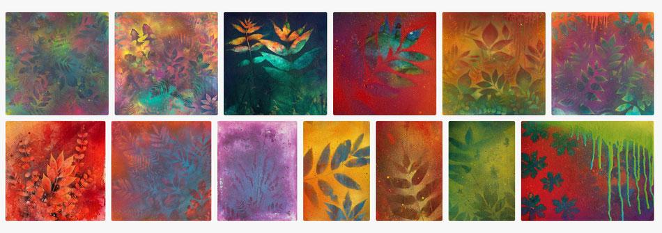 Auswahl von Kunstdrucken mit abstrakten Natur Kompositionen