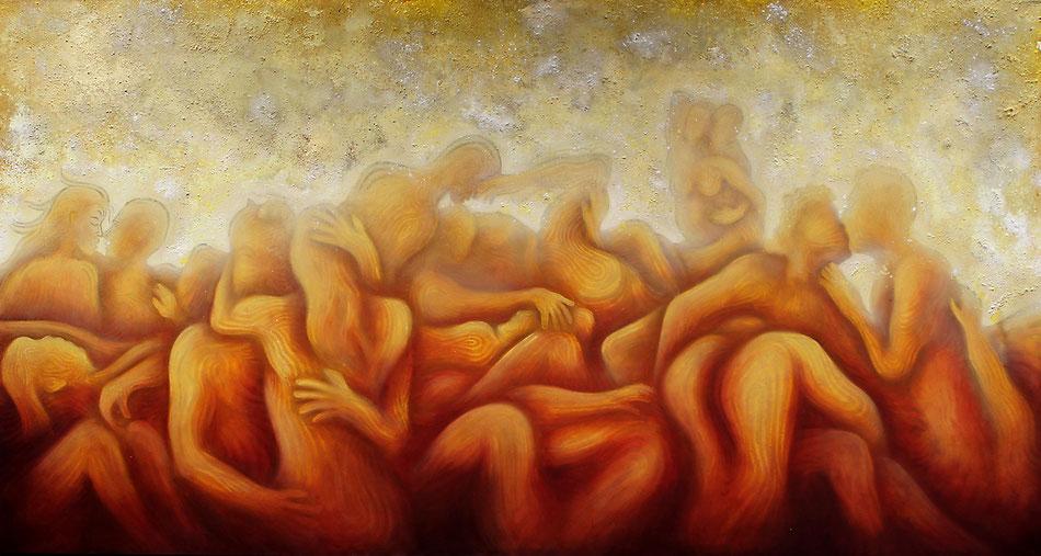 Sinnesrausch (300x160cm) Acryl, Öl,Sprühlack,Schlagmetall,Pigmente auf Leinwand