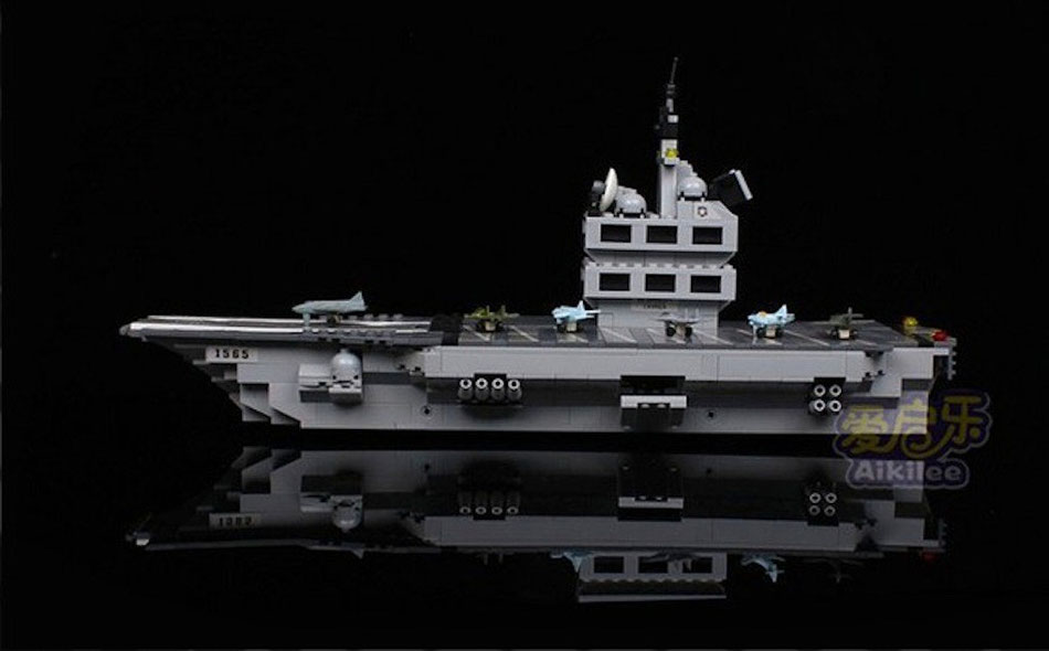 qiaoletong building bricks blocks aircraft carrier lego compatible