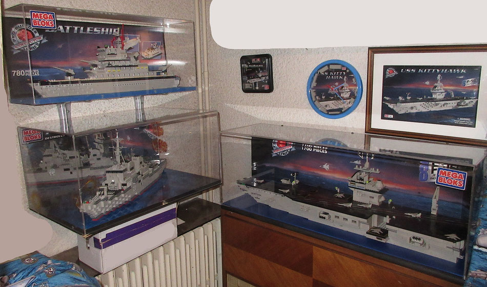 dealer store display case megabloks probuilder mega bloks uss enterprise battleship destroyer airceafr carrier bricks lego type