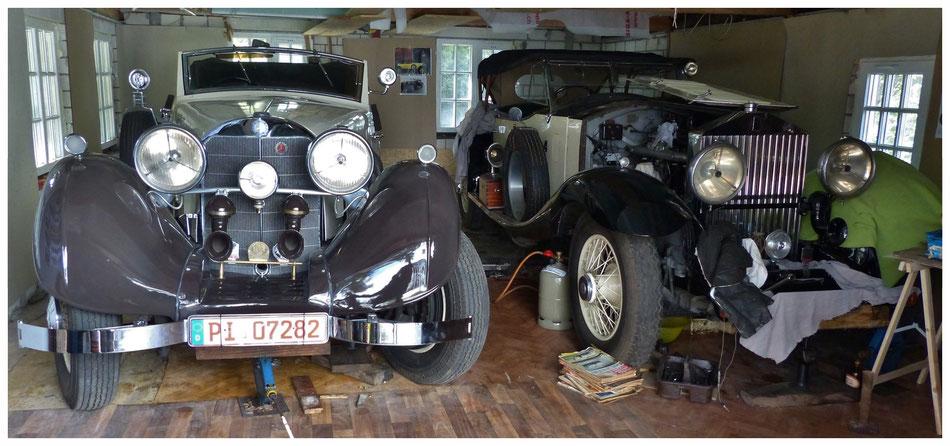Garagenidylle: Mercedes 500 K und Rolls-Royce Phantom I (Besitzer: Fritz Schröder)