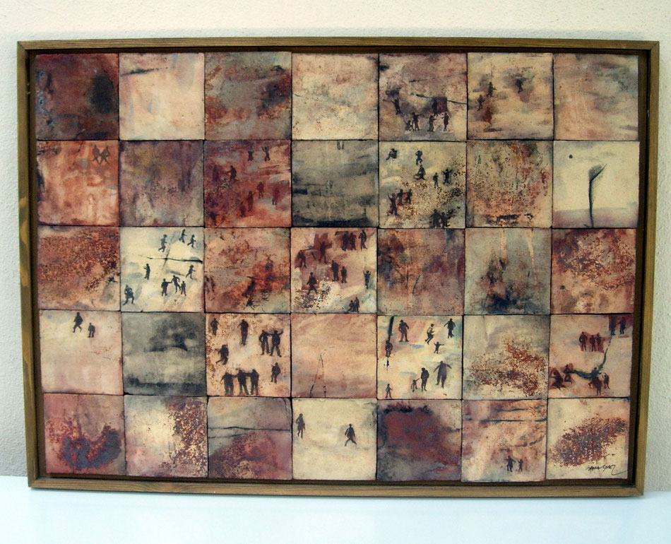 """mural """"buscando el rumbo"""". Sulfatos 70x50 cms."""