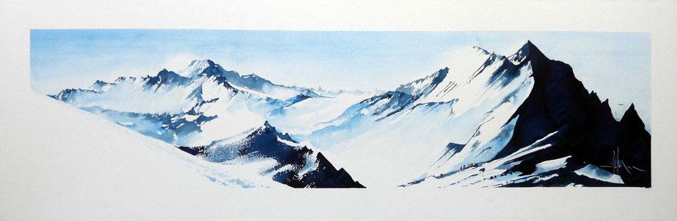464 Ascension XX - 2019 - Aquarelle sur papier collé sur médium 40 x 122
