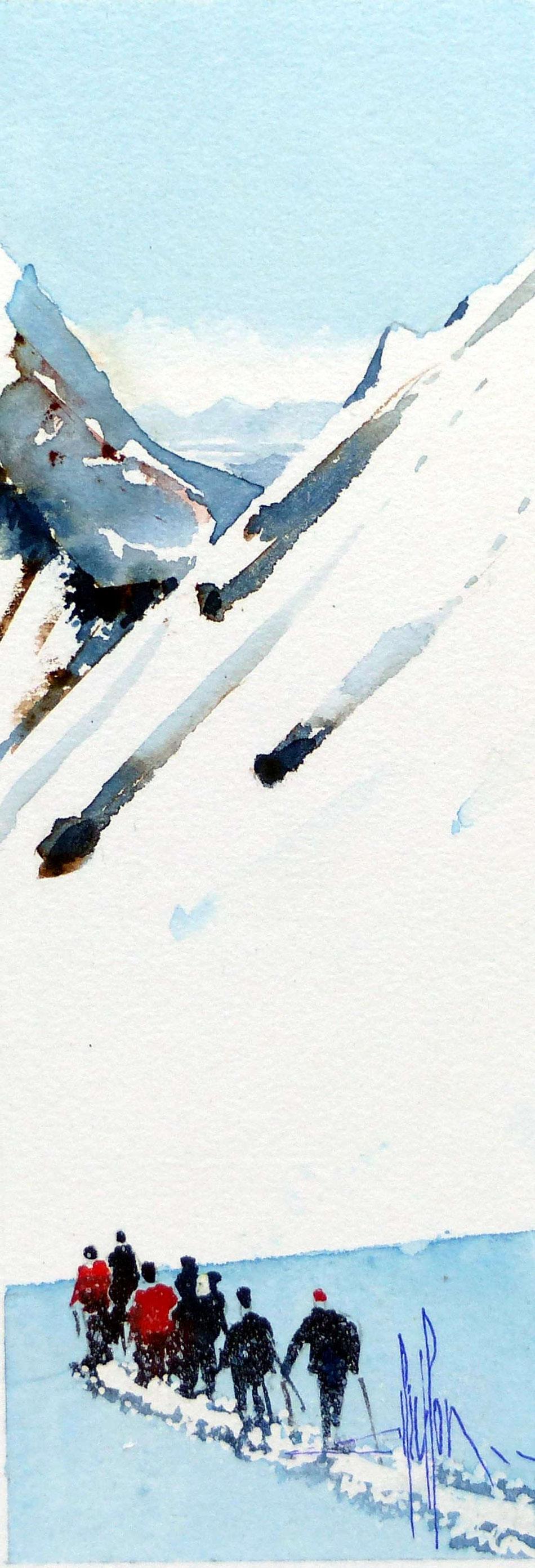 421 Ascension VII - 2018 - Aquarelle sur papier collé sur médium 13.5 x 30.5
