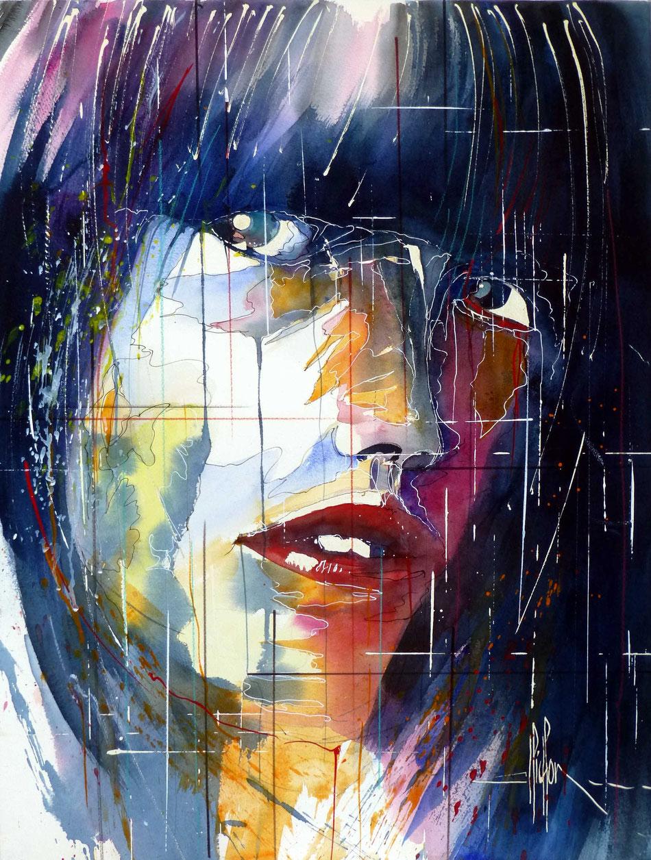 293 Portrait de femme 08 - 2013 - Aquarelle 50 x 65