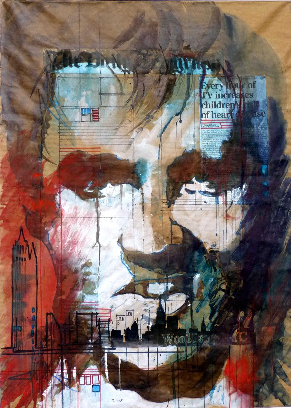 311 US Portrait 01 - 2014 - Aquarelle, collage et brou de noix sur papier kraft 50 x 70