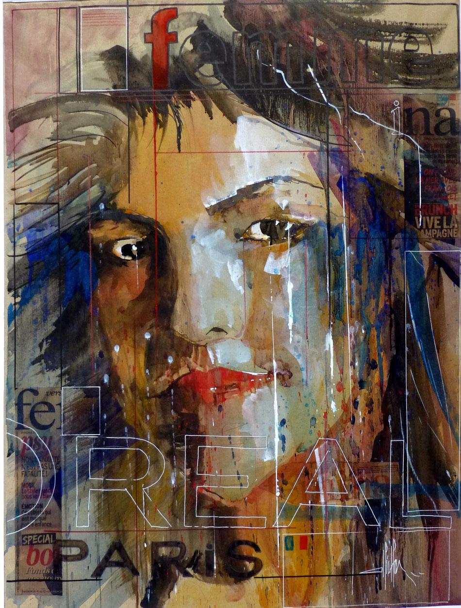 312 France Portrait 01 - 2014 - Aquarelle, collage et brou de noix sur papier kraft 60 x 80