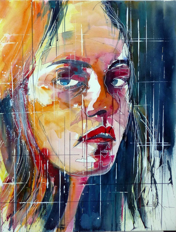 294 Portrait de femme 09 - 2013 - Aquarelle 50 x 65