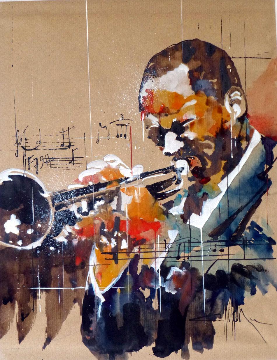319 L'homme à la trompette - 2014 - Aquarelle et brou de noix 35 x 45