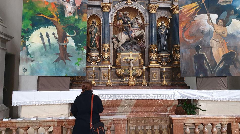 Georg München Margaret Raoul Rossmy Katholisch Kunst Engel Kampf Adam und Eva Versuchung Vertreibung Luzifer