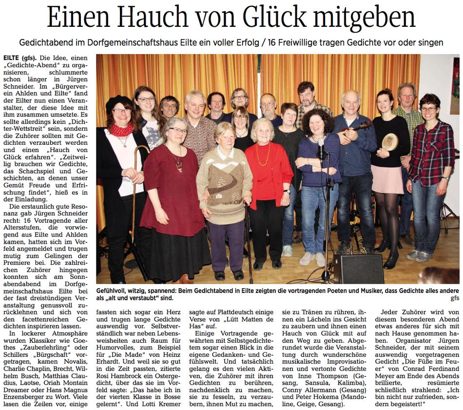 Artikel in der Walsroder Zeitung vom 14.3.2018