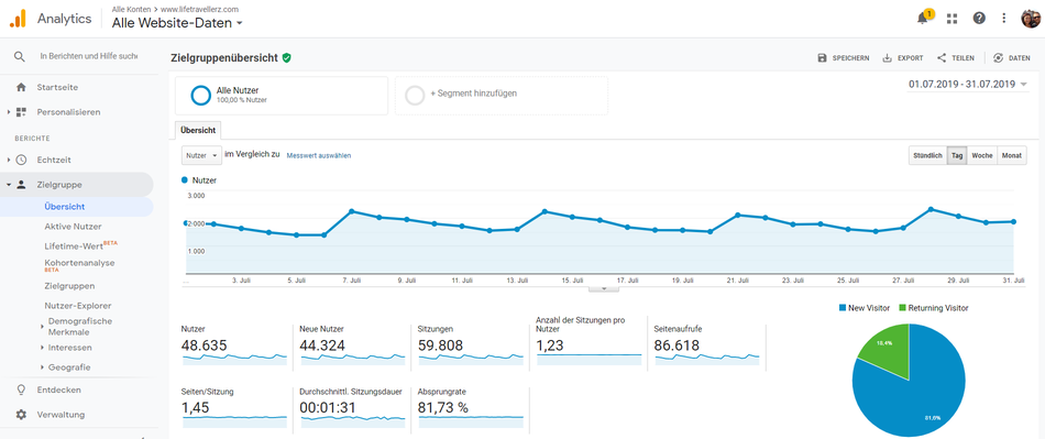 Google Analytics Screenshot Januar 2018