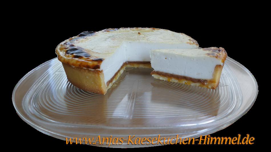 Karamell-Käsekuchen aus Glasplatte Anjas Käsekuchen-Himmel