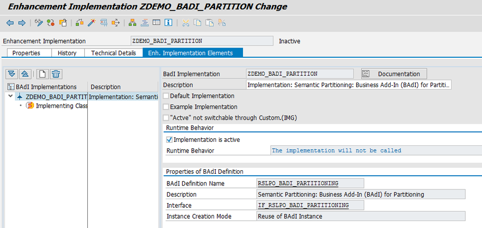 Enhancement Implementation ZDEMO_BADI_PARTITION Change