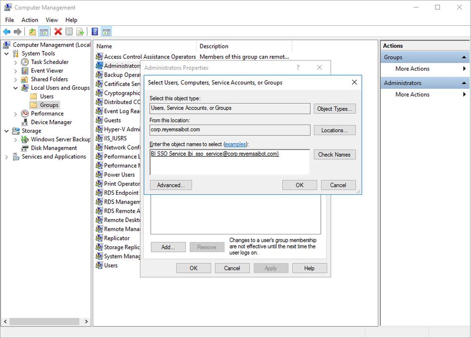 Computer Management add service user