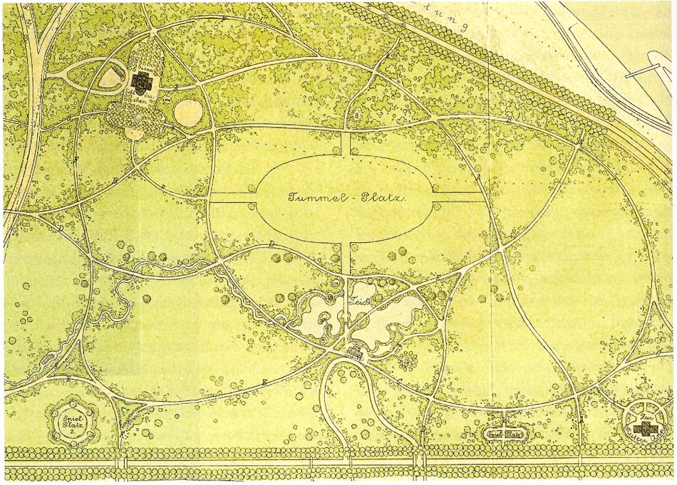 Östlicher Ausschnitt aus dem Entwurf von C. F. Seidel, aus: Hock, Dresden Football Club, S. 28.