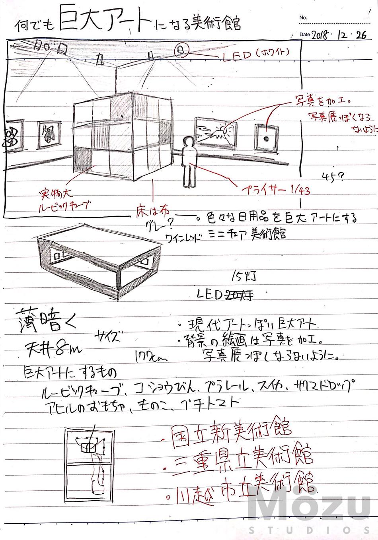 ミニチュア美術館の設計図。