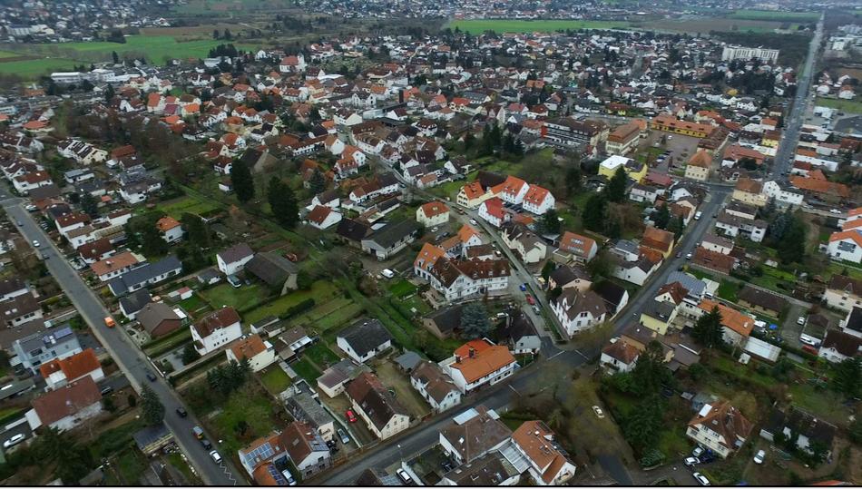 Aerial of Bickenbach, Bergstrasse
