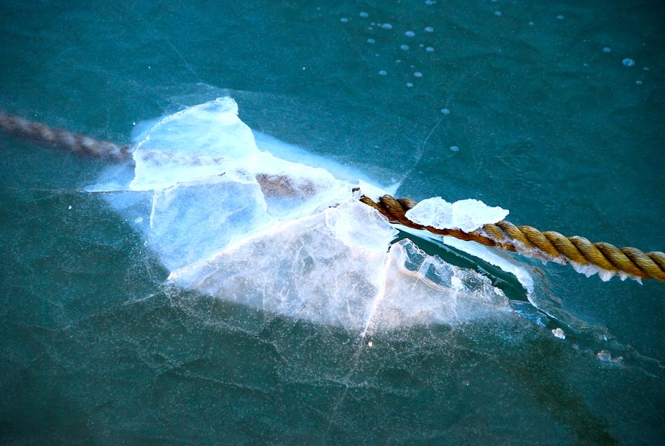 Tau im Eis im Hafen im Grömitz