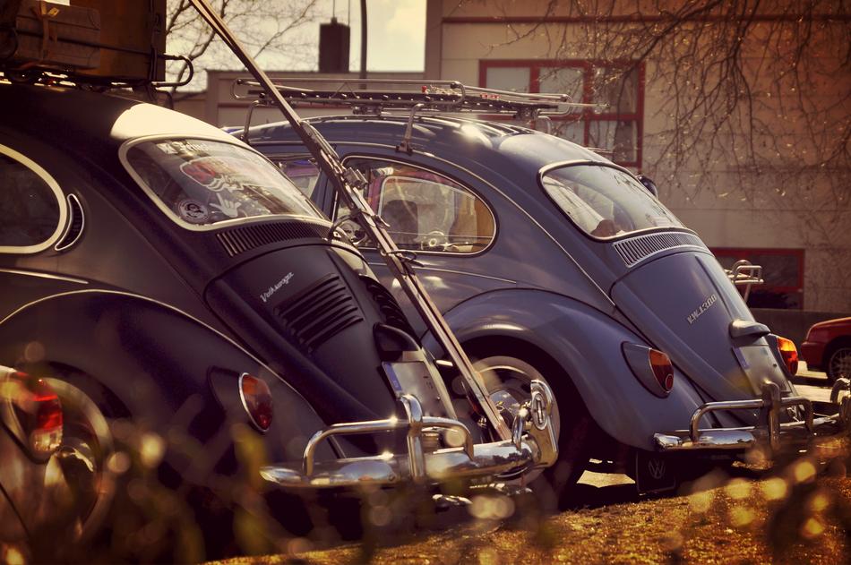 VW Käfer bei der Oldtimer Tankstelle in Hamburg Rothenburgsort