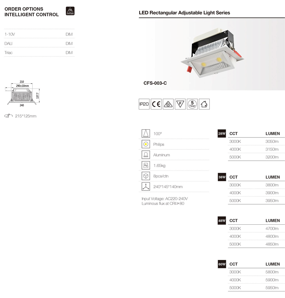 Led inbouwspots rechthoekig verstelbaar, dimbaar, Triac 1-10V, DALI. Leverbaar met CRI waarde Ra>0,95. BBM Ledproducts  1-5