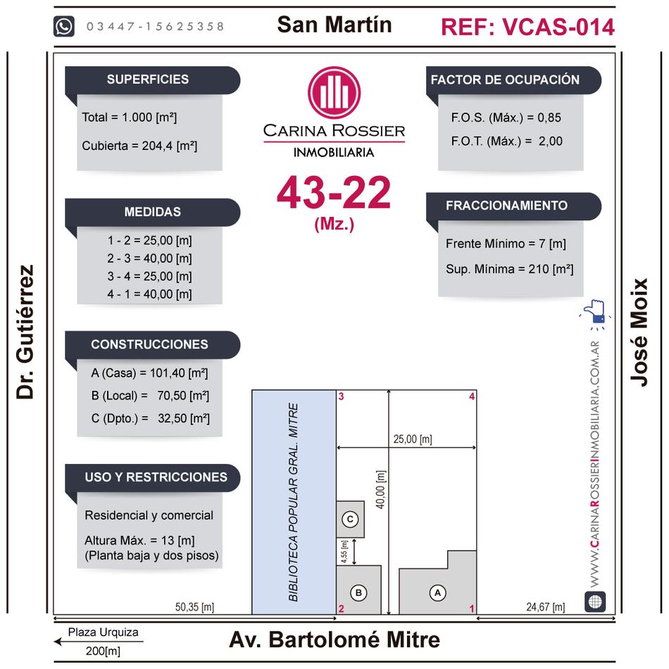 Carina Rossier Inmobiliaria vende amplio Lote en ubicado en el centro de Villa Elisa, Entre Ríos.