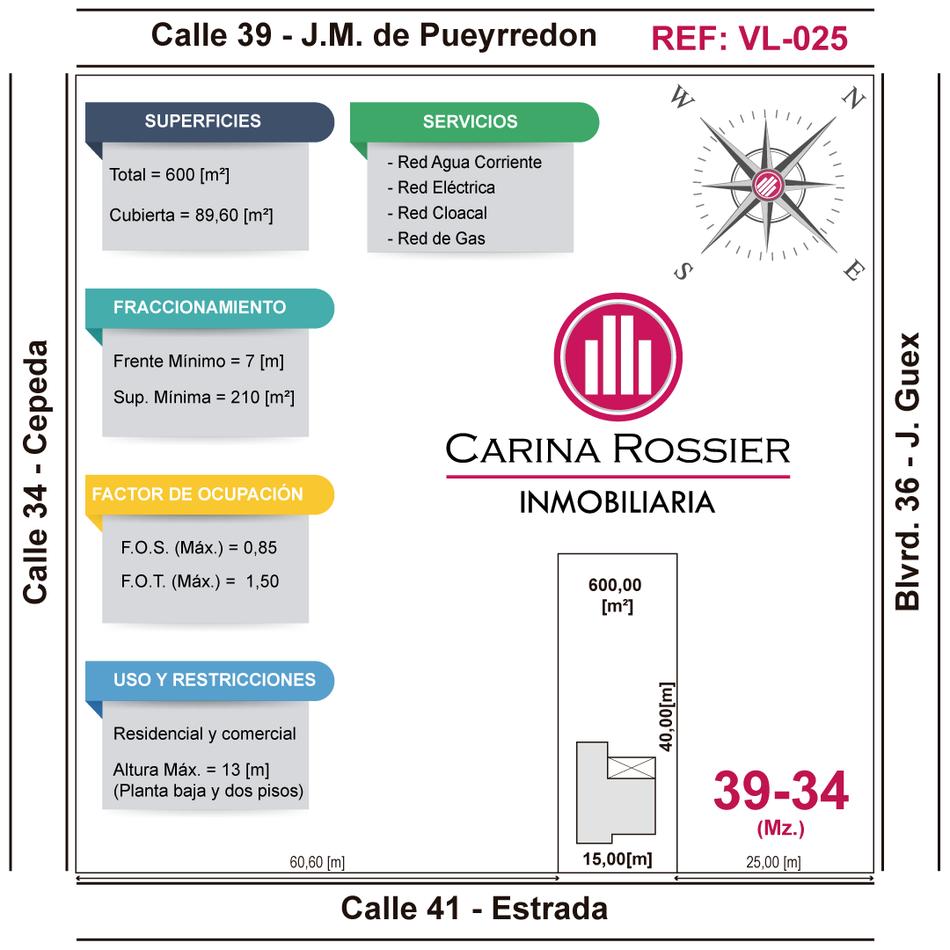 Carina Rossier Inmobiliaria vende lote en Villa Elisa Entre Ríos