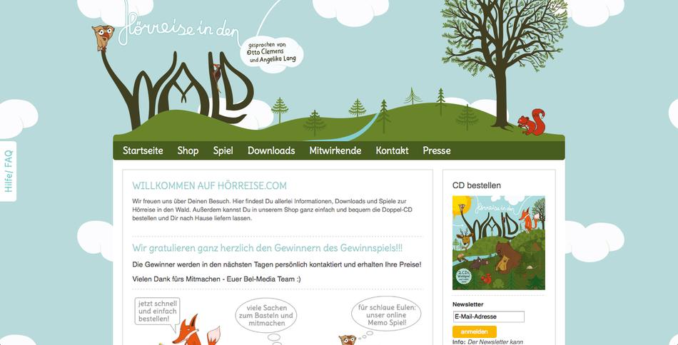 Webdesign Hörreise in den Wald