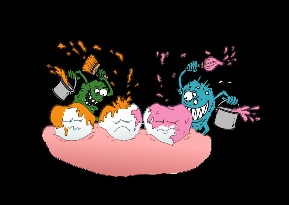 illustration hygiène bucco-dentaire carie tache peinture