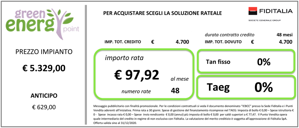 Kit ZCS 3000SP Batteria litio da 2,4KW prezzo chiavi in mano finanziamento a tasso zero