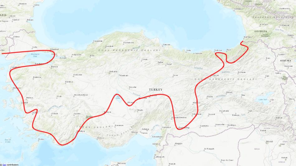 Unsere grobe Route auf unserer 6-wöchigen Reise durch die Türkei