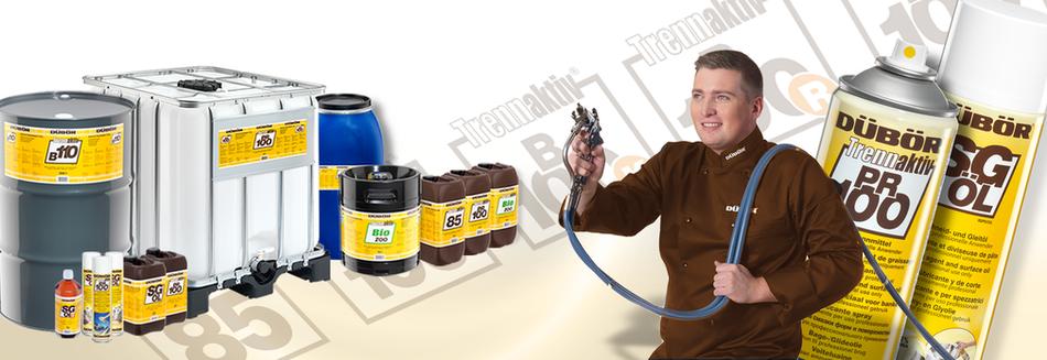 Unser Angebot an DÜBÖR Backtrennmitteln umfasst folgende Produktkategorien: Emulsionen Öl- und Wachsprodukte Trennwachs Schneideöle Spezial-Produkte Spraydosen Bio Produkte, DÜBÖR TRENNAKTIV Bio 200, TRENNAKTIV Bio 400 Bio, organic, Trennmittel, Backtrenn