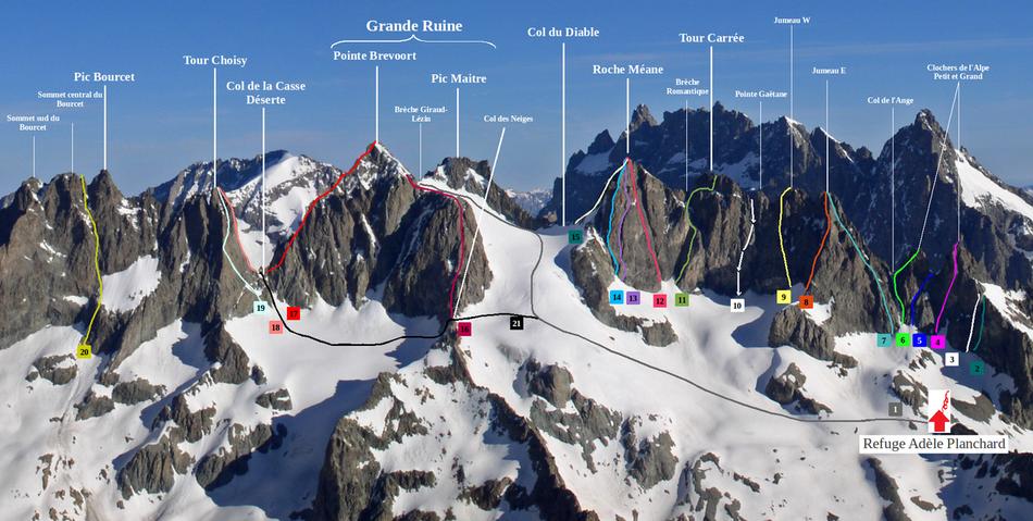 Différents itinéraires d'alpinisme à proximité du refuge ( cliquez sur l'image pour l'agrandir). crédit photo Michel Havez