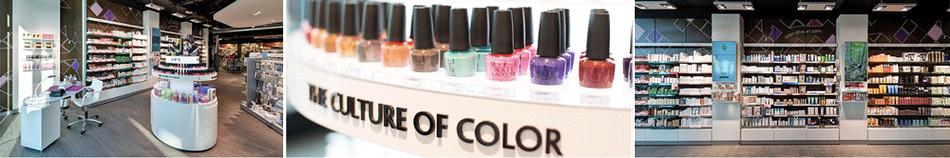 Espace beauté, les coins des ongles (OPI), parois dermo-cosmétique