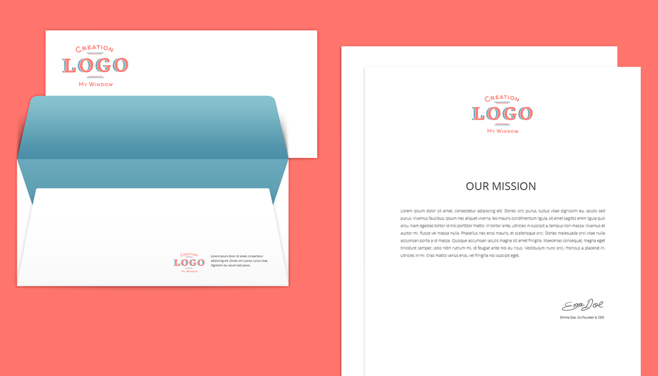 Création enveloppe et papier à en-tête personnalisée